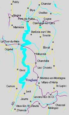 lac de vouglans carte franche comté